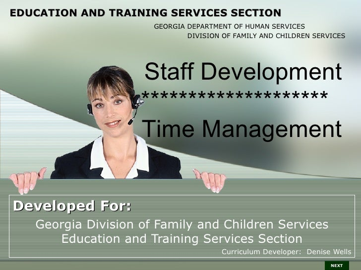 EDUCATION AND TRAINING SERVICES SECTION                      GEORGIA DEPARTMENT OF HUMAN SERVICES                         ...