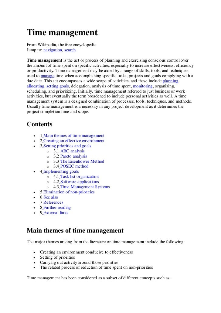 Time managementFrom Wikipedia, the free encyclopediaJump to: navigation, searchTime management is the act or process of pl...