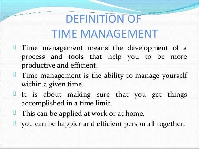 Conclusion of time management