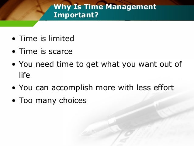 time management is an important ingredient Total quality management in pharmaceuticals:  quality is critically important ingredient to organizational  something that was not done right the first time his.