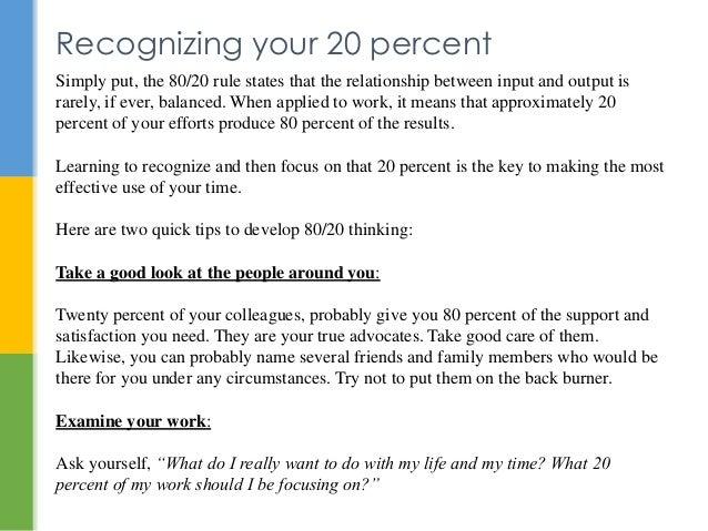 Eighty twenty rule in relationships