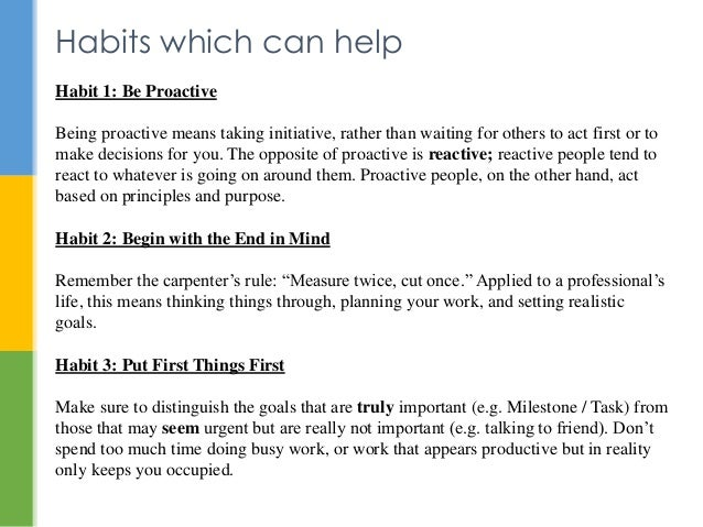 Habit 1 Be Proactive Based On The Work Of Stephen: Time Management