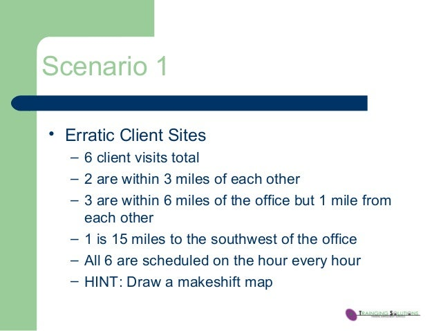 Scenario 1 • Erratic Client Sites – 6 client visits total – 2 are within 3 miles of each other – 3 are within 6 miles of t...