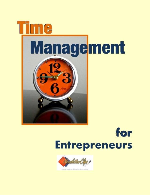 TTTiiimmmeee Management fffooorrr Entrepreneurs