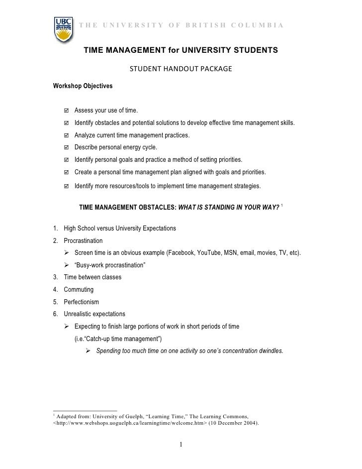 THE UNIVERSITY OF BRITISH COLUMBIA           TIME MANAGEMENT for UNIVERSITY STUDENTS                              STUDENT ...