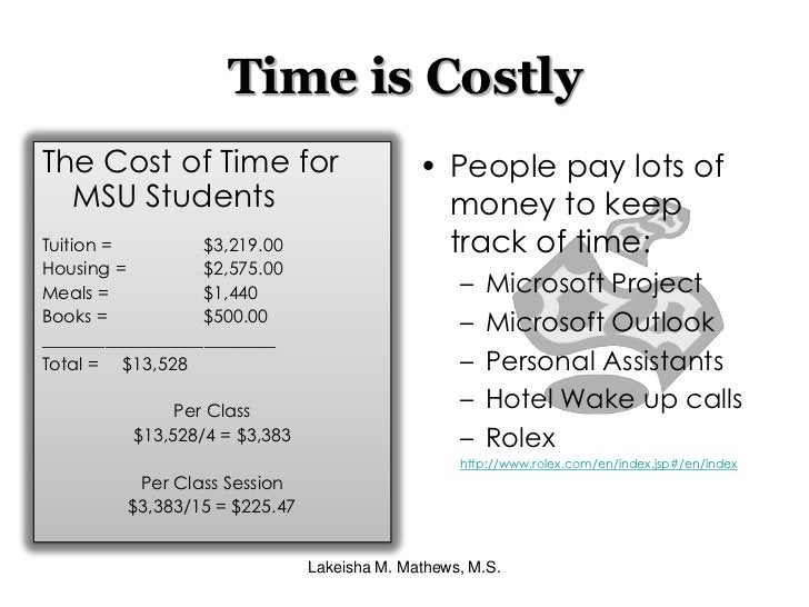 Time is Costly<br />People pay lots of money to keep track of time:<br />Microsoft Project<br />Microsoft Outlook<br />Per...