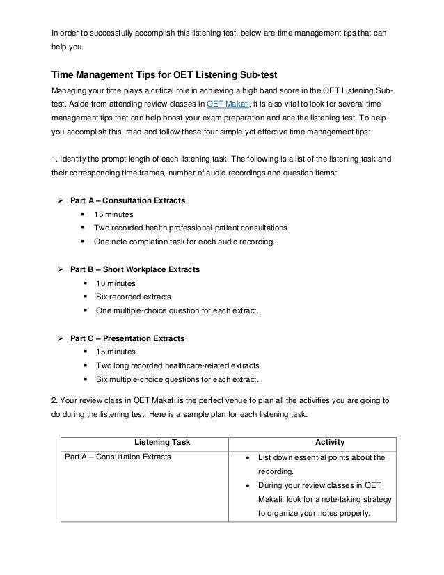 Time Management Tips for OET Listening Sub-test Slide 2