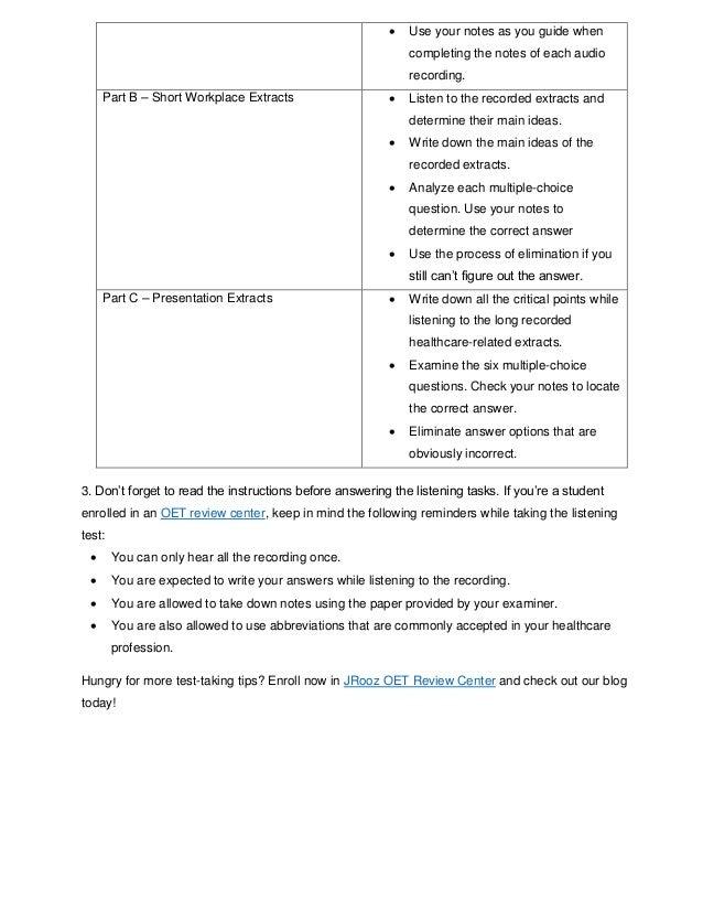 Time Management Tips for OET Listening Sub-test Slide 3