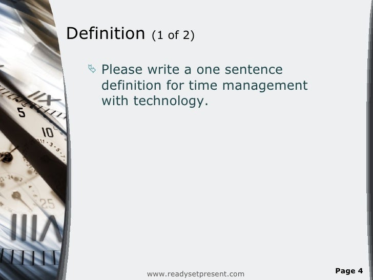 Time Management And Technology: Time Management & Technology PowerPoint Presentation