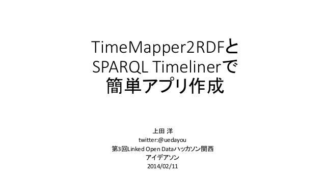TimeMapper2RDFと SPARQL Timelinerで 簡単アプリ作成 上田 洋 twitter:@uedayou 第3回Linked Open Dataハッカソン関西 アイデアソン 2014/02/11