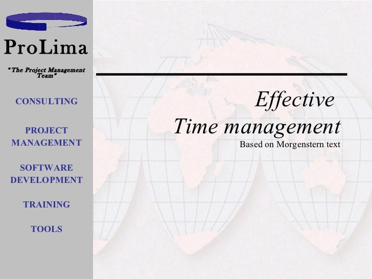 Effective  Time management Based on Morgenstern text