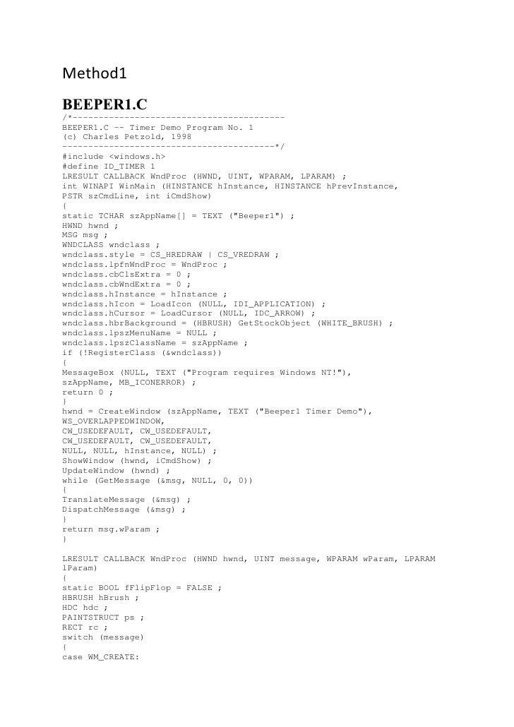 Method1 BEEPER1.C /*----------------------------------------- BEEPER1.C -- Timer Demo Program No. 1 (c) Charles Petzold, 1...