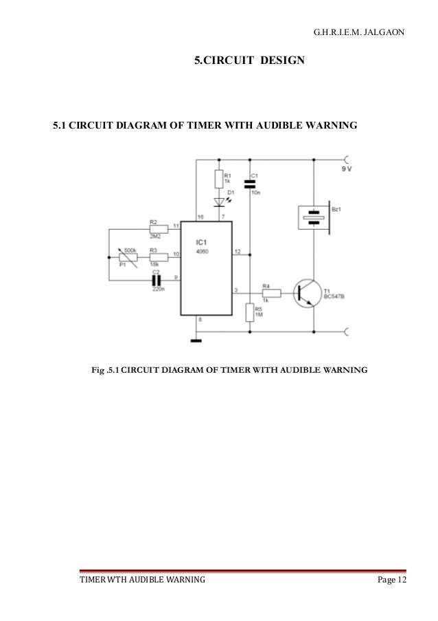 Timer With Audible Warning With Circuit Diagram