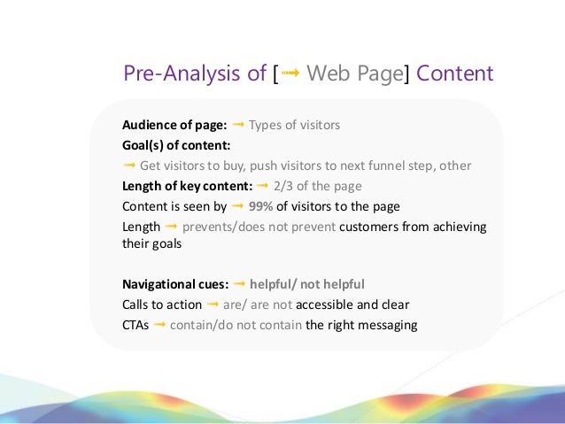 Pre-Analysis of [➟ Web Page] ContentAudience of page: ➟ Types of visitorsGoal(s) of content:➟ Get visitors to buy, push vi...