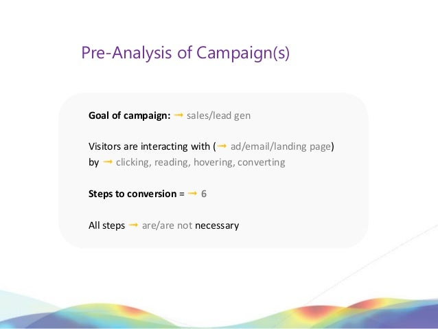 Pre-Analysis of Campaign(s)Goal of campaign: ➟ sales/lead genVisitors are interacting with (➟ ad/email/landing page)by ➟ c...