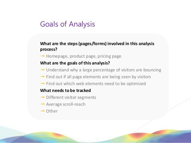 Goals of AnalysisWhat are the steps (pages/forms) involved in this analysisprocess?➟ Homepage, product page, pricing pageW...