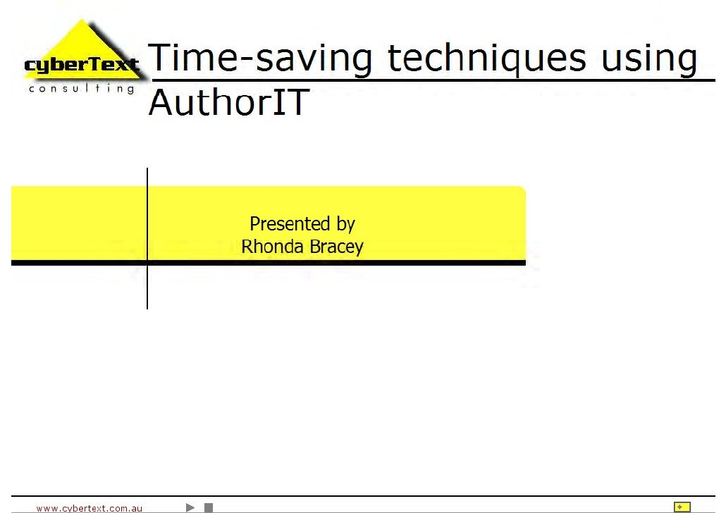 Time Saving Techniques Using Author-It