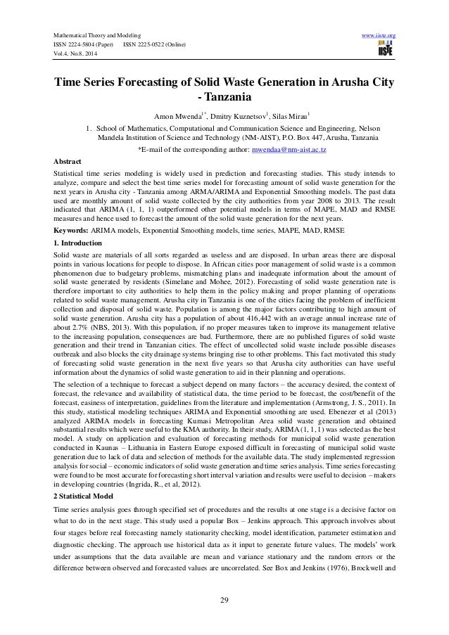 Mathematical Theory and Modeling www.iiste.org ISSN 2224-5804 (Paper) ISSN 2225-0522 (Online) Vol.4, No.8, 2014 29 Time Se...