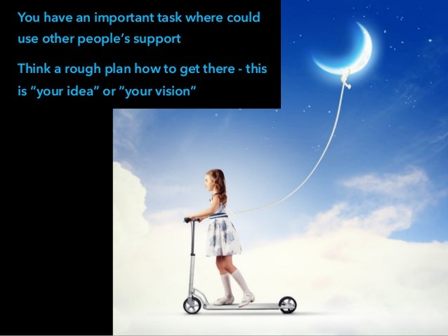 """You have an important task where could use other people's support Think a rough plan how to get there - this is """"your idea..."""