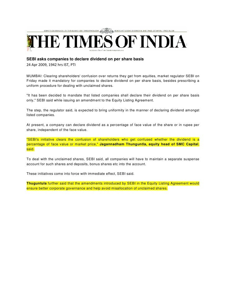 Times Of India Apr 24 2009 Sebi Asks Companies To Declare Dividend
