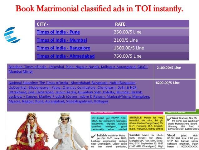 Times of india matrimonial ad online booking - Delhi, Mumbai