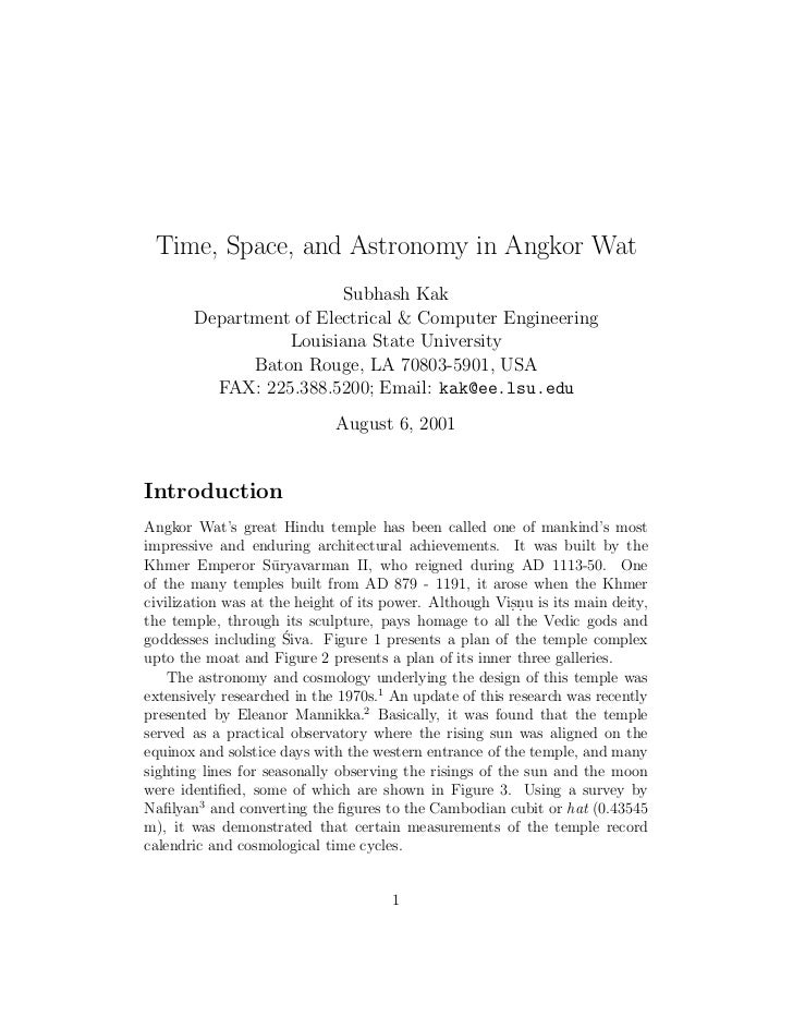 Time, Space, and Astronomy in Angkor Wat                        Subhash Kak       Department of Electrical & Computer Engi...