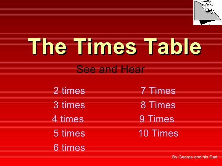 The Times Table        See and Hear   2 times        7 Times   3 times        8 Times   4 times        9 Times   5 times  ...