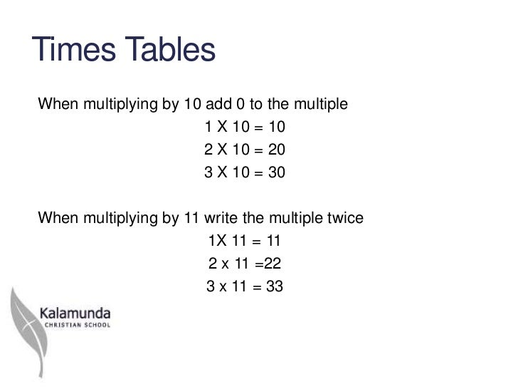 Times TablesWhen multiplying by 10 add 0 to the multiple                       1 X 10 = 10                       2 X 10 = ...