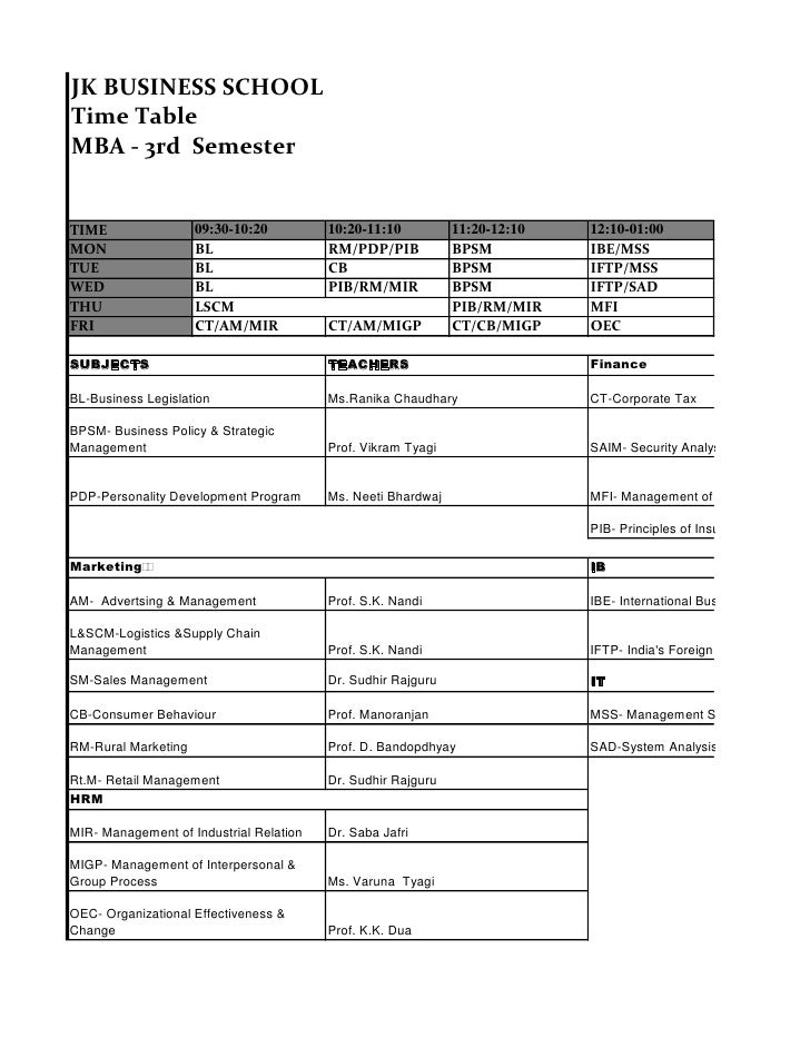 JK BUSINESS SCHOOL Time Table MBA - 3rd Semester   TIME                 09:30-10:20         10:20-11:10          11:20-12:...