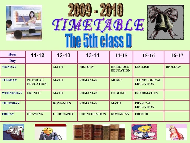 TIMETABLE 2009 - 2010 The 5th class D FR E NC H ROMAN IAN   COUNCILIATION GEOGRA PHY D RAWING FRIDAY  PHYSICAL EDUCATION  ...