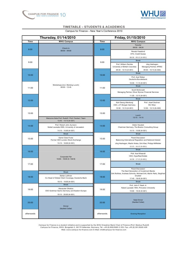 TIMETABLE – STUDENTS & ACADEMICS                                           ...