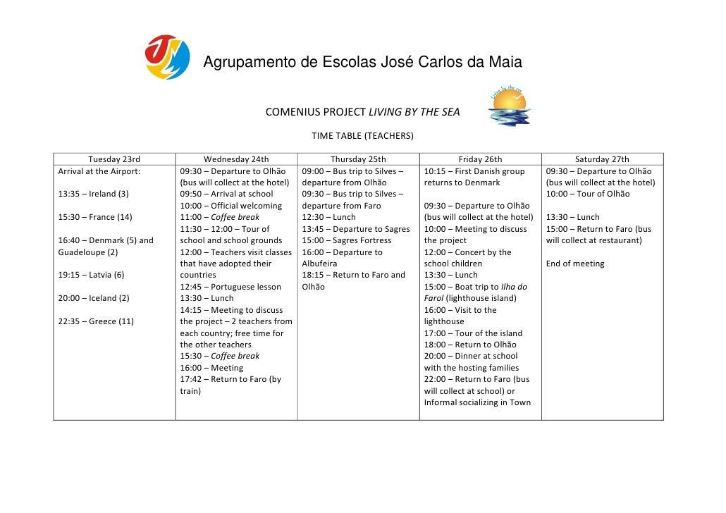 Agrupamento de Escolas José Carlos da Maia                                                    COMENIUS PROJECT LIVING BY T...