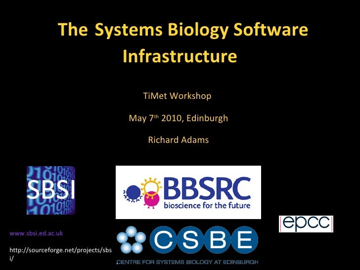 The   Systems Biology Software Infrastructure TiMet Workshop  May 7 th  2010, Edinburgh Richard Adams www.sbsi.ed.ac.uk ht...