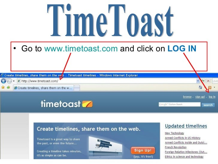 <ul><li>Go to  www.timetoast.com  and click on  LOG IN </li></ul>TimeToast