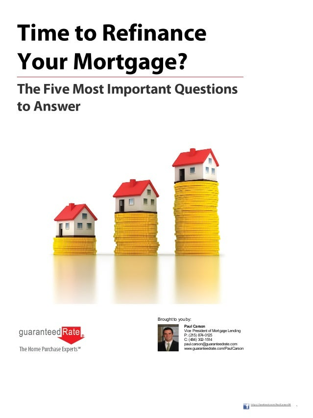 Paul CarsonVice President of Mortgage LendingP: (215) 874-0125C: (484) 302-1514paul.carson@guaranteedrate.comwww.guarantee...