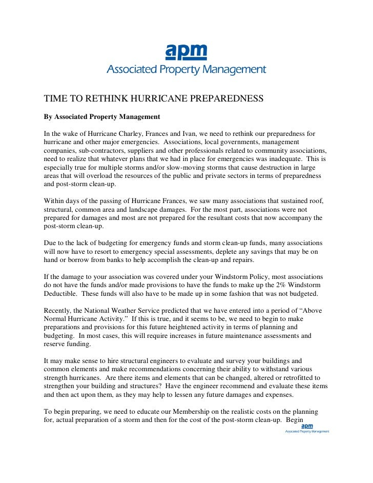 TIME TO RETHINK HURRICANE PREPAREDNESS By Associated Property Management  In the wake of Hurricane Charley, Frances and Iv...
