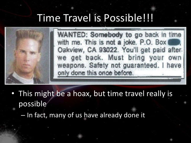 Possibility Of Time Travel Backwards