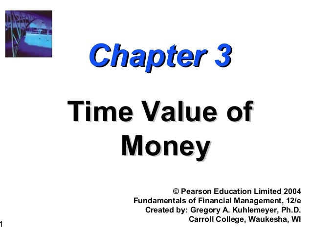 1 Chapter 3Chapter 3 Time Value ofTime Value of MoneyMoney © Pearson Education Limited 2004 Fundamentals of Financial Mana...