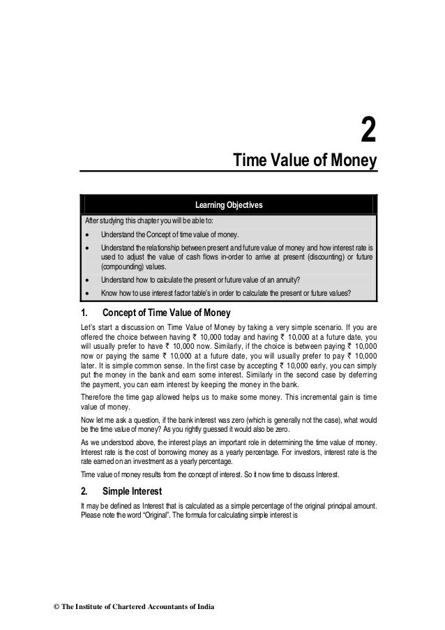 2 Time Value of Money Learning Objectives After studying this chapter you will be able to: • Understand the Concept of tim...