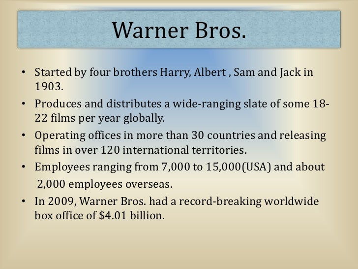 swot motion picture in addition to warner bros essay