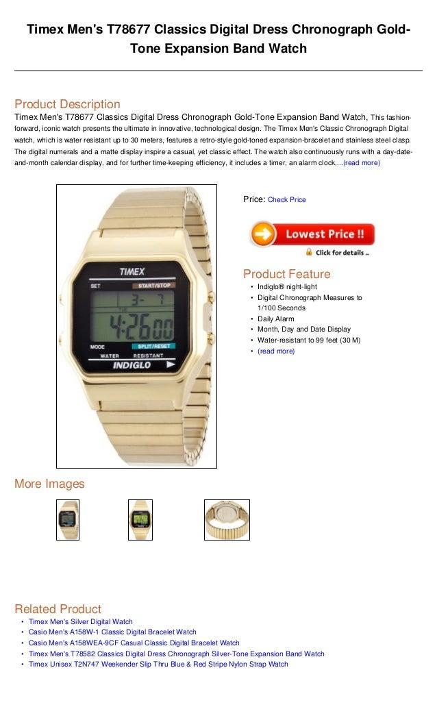 38b0525e0 Timex men's t78677 classics digital dress chronograph gold tone expansion  band watch
