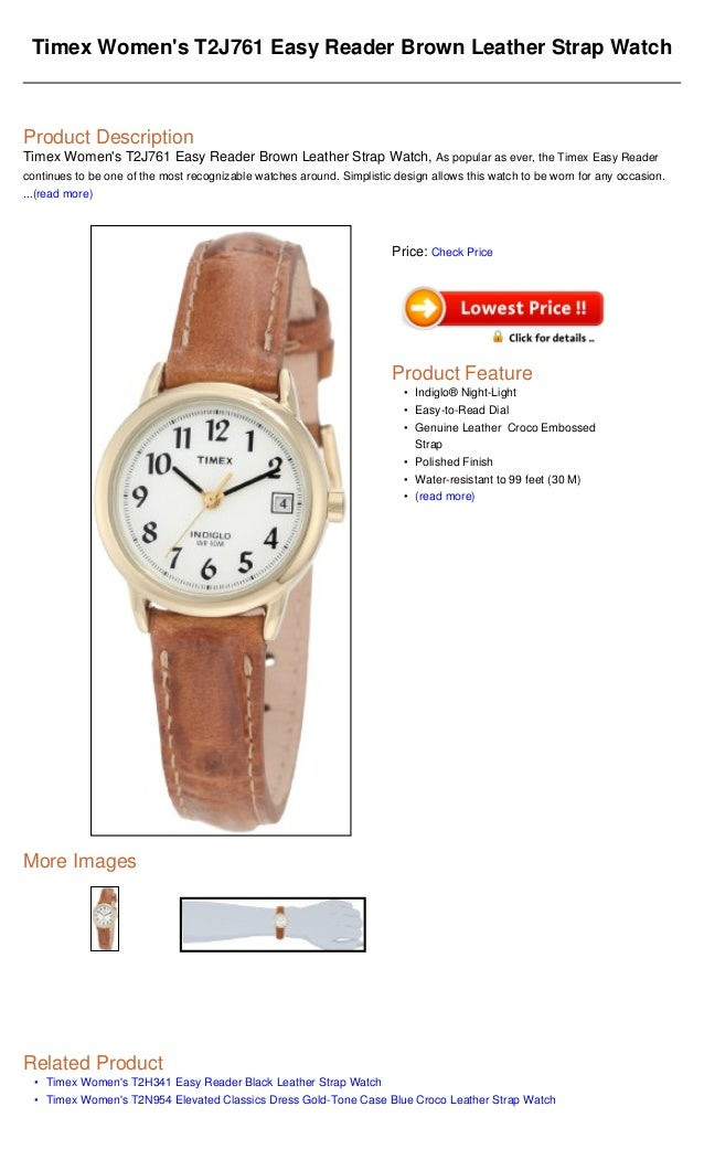 b7d30a217 Timex women's t2 j761 easy reader brown leather strap watch