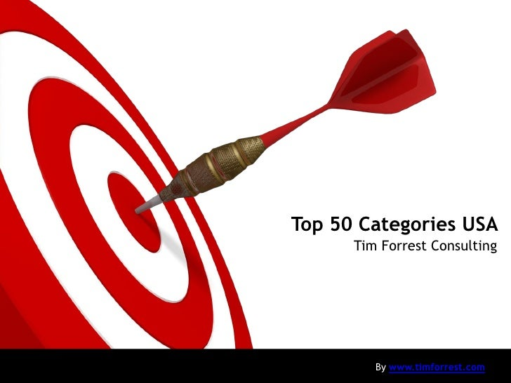 Top 50 Categories USA       Tim Forrest Consulting              By www.timforrest.com