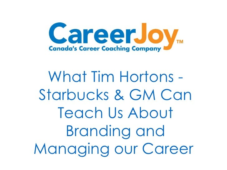 What Tim Hortons - Starbucks & GM Can Teach Us About Branding and Managing our Career
