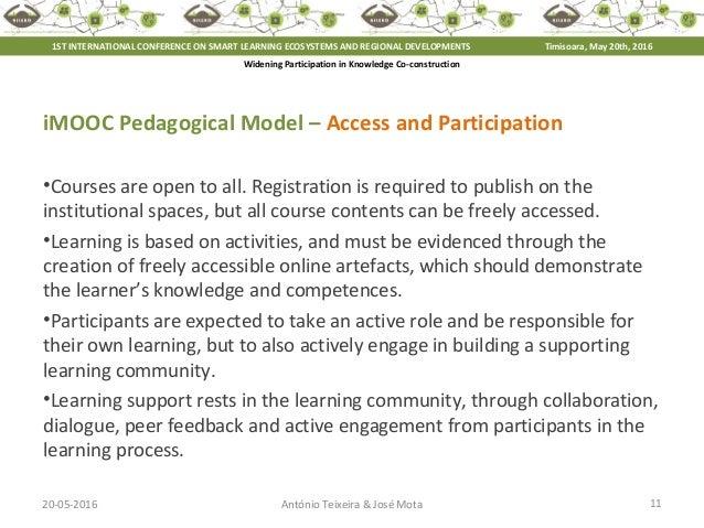 20-05-2016 11António Teixeira & José Mota iMOOC Pedagogical Model – Access and Participation •Courses are open to all. Reg...