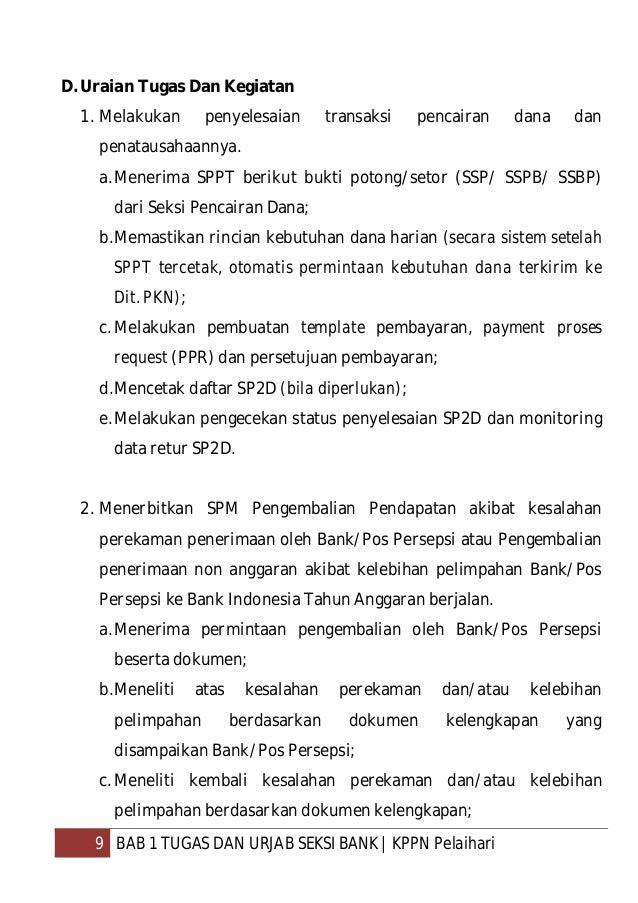 10 BAB 1 TUGAS DAN URJAB SEKSI BANK  KPPN Pelaihari d.Meneruskan kepada Seksi Verifikasi dan Akuntansi untuk diterbitkan S...