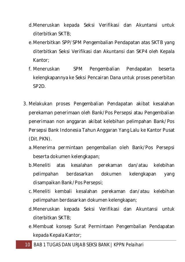 11 BAB 1 TUGAS DAN URJAB SEKSI BANK  KPPN Pelaihari f. Meneruskan Surat Permintaan Pengembalian Pendapatan dan SKP4 yang d...