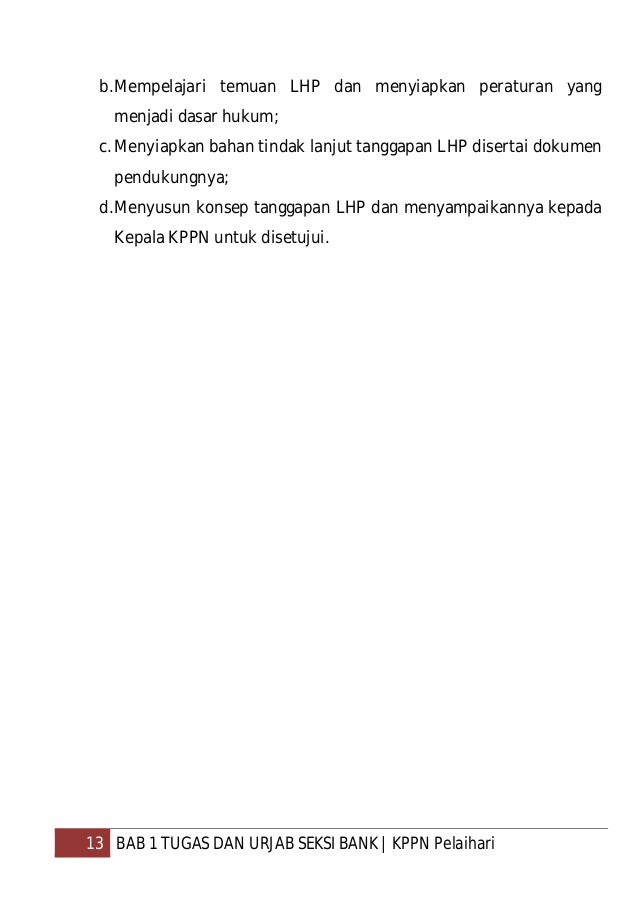 14 BAB 2 SOP SEKSI BANK   KPPN Pelaihari BAB 2 SOP SEKSI BANK A. Dasar Hukum Surat Direktur Jenderal Perbendaharaan nomor ...