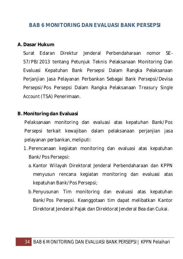 35 BAB 6 MONITORING DAN EVALUASI BANK PERSEPSI   KPPN Pelaihari 2. Kegiatan Monitoring dan Evaluasi atas kepatuhan Bank/Po...