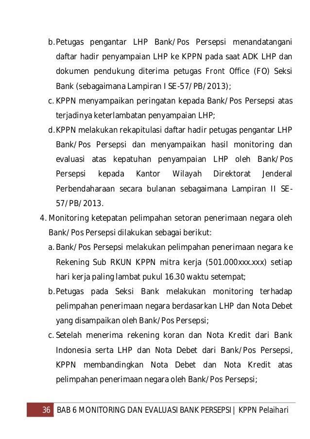 37 BAB 6 MONITORING DAN EVALUASI BANK PERSEPSI   KPPN Pelaihari d.KPPN mengenakan denda atas keterlambatan/kekurangan peli...